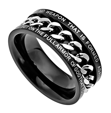 """Black Chain Ring – """"No Weapon"""""""